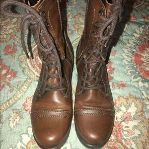 Steve Madden Brown leather Troopa boots lace up